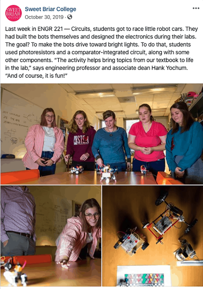 Facebook post about Sweet Briar's Circuits class