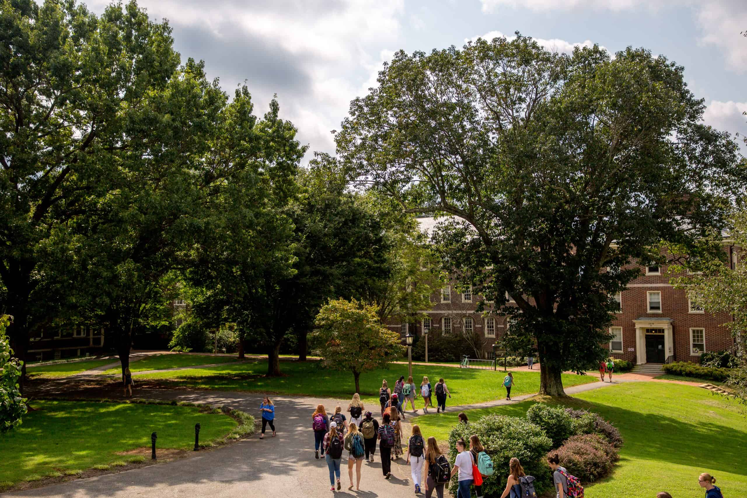 a group of students walking to class across the quad