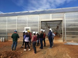 4 March 2020: Students in Prof. Powell's Sustainable Agriculture and Food Systems class got a behind-the-scenes tour of the construction of our new greenhouse.