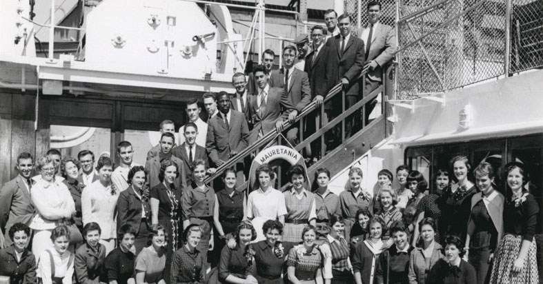 SBC Junior Year in France 1957-58 group departing on the Mauretania.