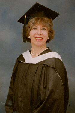 Thiébaud in 1990 when she received her M.A.T. at age 55.