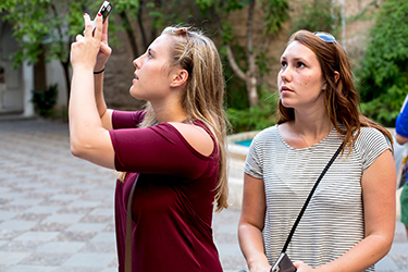 Alexandra Karahalios (left) has been capturing every moment of her semester in Seville.