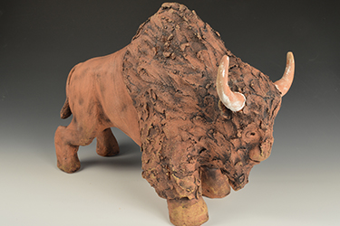 """American Bison Study #1,"" David Emmert, 22 in. x 14 in. x 6 in., cone one, terracotta, 2016"