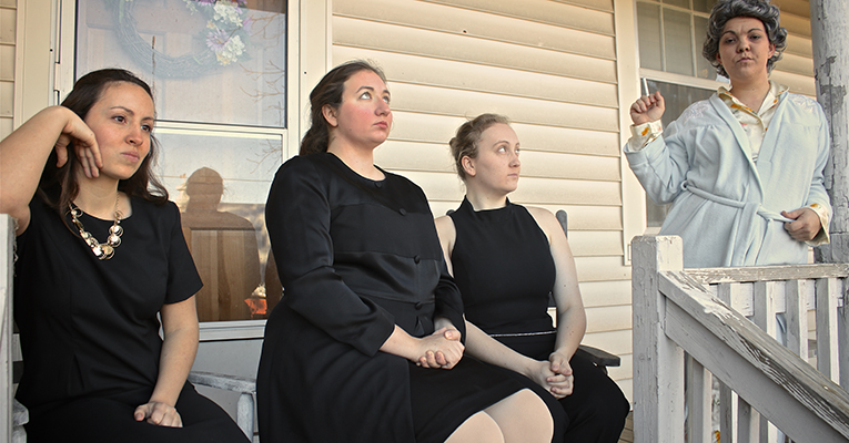 From left are Leah Haes '16 as Karen Weston, Amber Boyer '17 as Barbara Weston, Shannon McCarthy '16 as Ivy Weston and Tristin Burke '17 as Violet Weston.