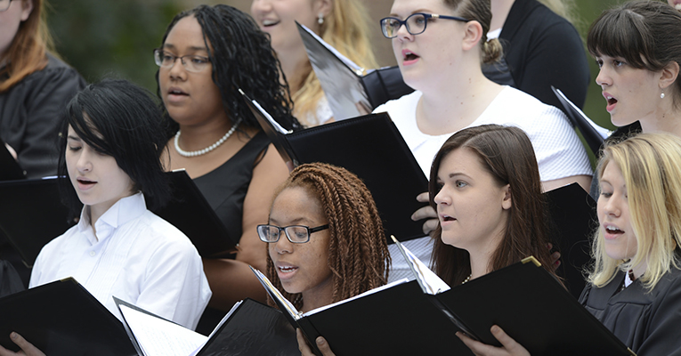 Sweet Briar choir members sing during the Founders' Day ceremony in September.