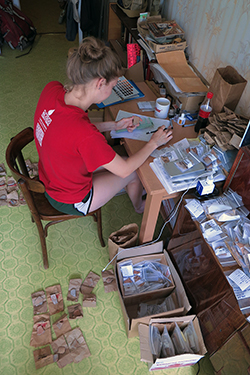 Zak analyzes and draws pot sherds for her internship project and in preparation for her Senior Honors Thesis. Photo by Perry Tourtellotte.