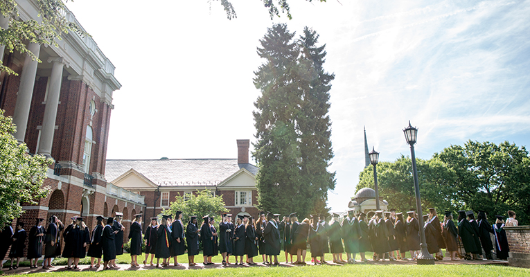 The Class of 2016 lines up for Sweet Briar College's commencement ceremony.