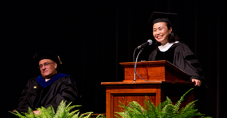 President Meredith Woo addresses students, faculty and staff at Sweet Briar's 112th Opening Convocation.