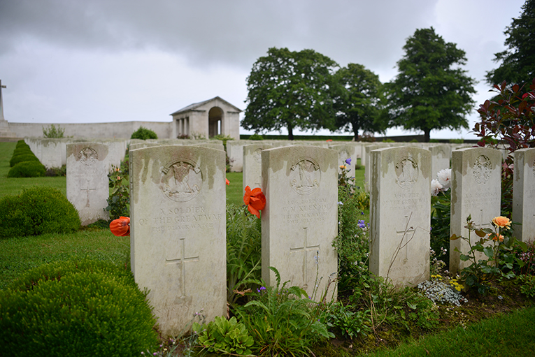 Headstones of British soldiers who died at the Somme in 1916 at one of the many memorial parks maintained by the British government.
