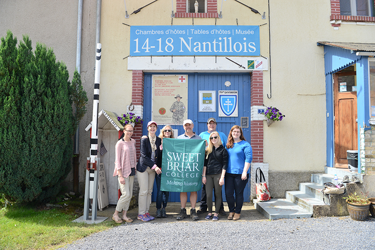 The group outside one of the bed and breakfast establishments in Nantillois, France, a few miles from Verdun.