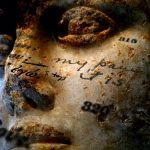 "Andrea Eis, ""My pain"" (Sophocles, ""Antigone""; American Book Co., 1891), 2012, archival pigment print on silk habotai"