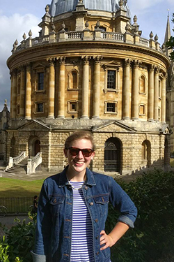 Emily Dodson in front of the Radcliffe Camera