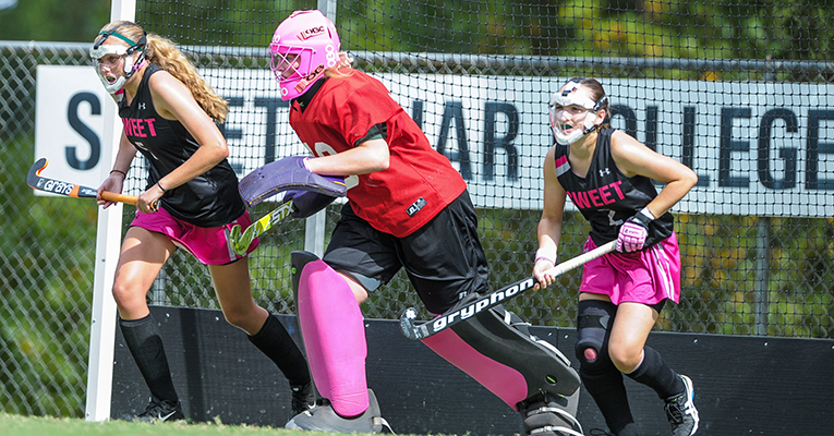 Sweet Briar field hockey players Mary Kate Bailey (from left), Emily Dodson and Kiley Jolicoeur