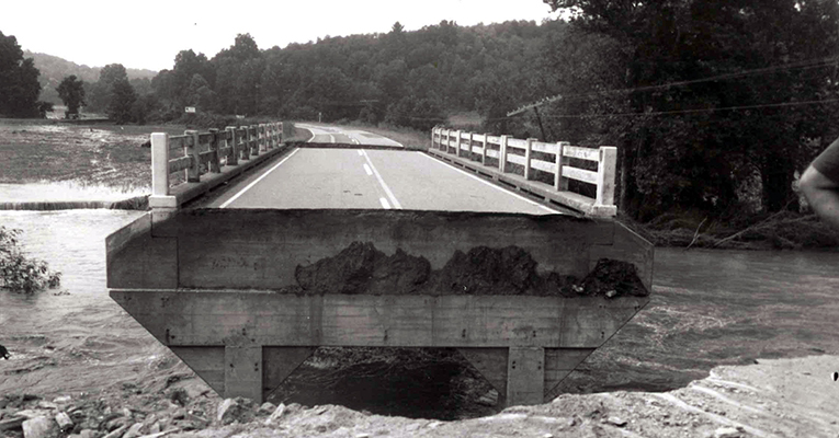 Bridge on Rt. 60 washed out after Hurricane Camille