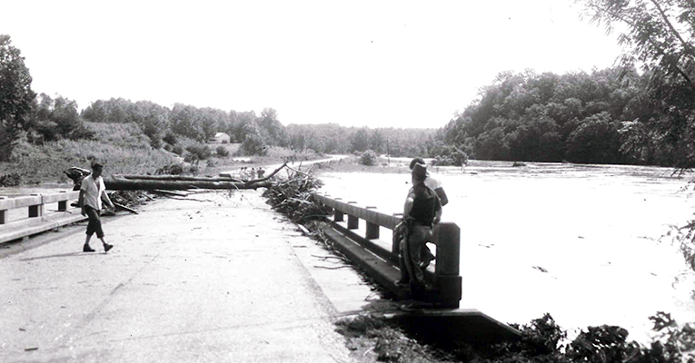 Buffalo River covered the bridge at Boxwood Farm Road with debris, Hurricane Camille