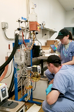 Jessica Heiser and a co-worker in the lab at Grassroots Cannabis