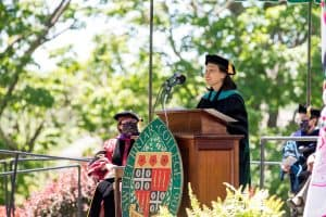 President Meredith Woo's charge to the class
