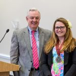 Jessie Schuster receives the 2017 Presidential Medal from Sweet Briar College president, Phillip C. Stone.