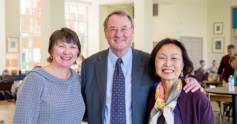 President Woo, Bettina Ring and Jim Hubbard