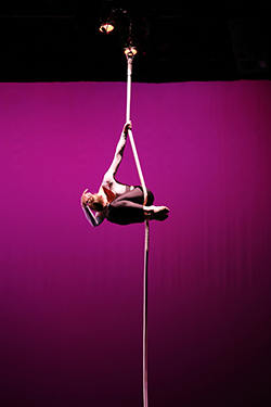 Laura Burgamy, shown performing a rope solo, will appear with Frequent Flyers at Sweet Briar College Feb. 2. Photo: Nancy Smith