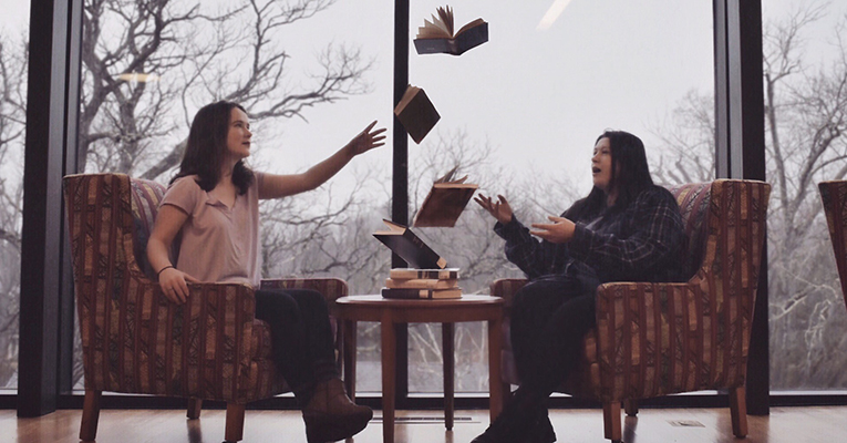 Levitating books in library