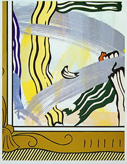 """Painting in Gold Frame,"" Roy Lichtenstein, lithograph, woodcut, serigraph and collage on paper, 46 ¼ x 36 inches, 1983-84. Purchase made possible by the Friends of Art"