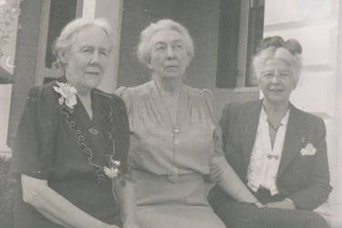 Presidents Mary K. Benedict (from left) and Meta Glass with science professor Connie Guion