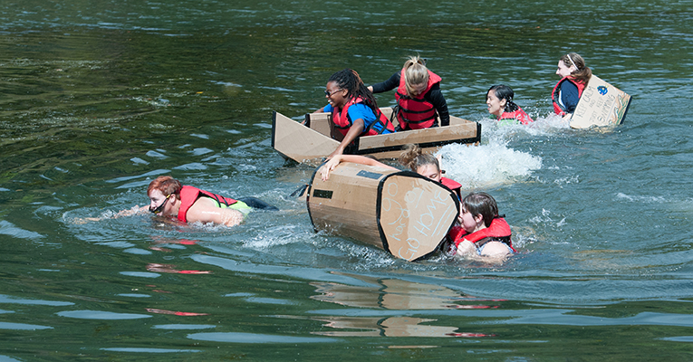 Engineering Newbies Compete In 13th Annual Cardboard Boat Regatta