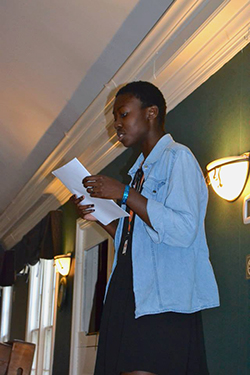 A poet performs at an open mic session during the summer 2015 Young Writers Workshop at Sweet Briar College. Photo courtesy of Jeff Martin.