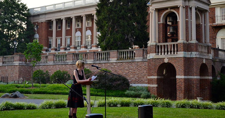 An open mic performance during the summer 2014 Young Writers Workshop at Sweet Briar College. Photo courtesy of Jeff Martin.