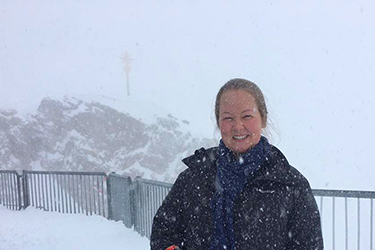 Shelby Benny at the summit of the Zugspitze, Germany's highest peak