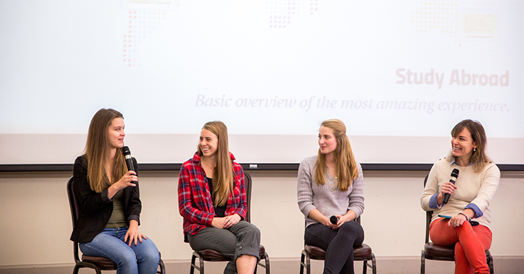 Sweet Briar students talk with JYS director Giulia Witcombe (right) about their study abroad experiences at a panel Tuesday in Josey Dining Room.