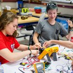 Students work on a creative electrical engineering project during the Summer 2016 Explore Engineering Design Course.