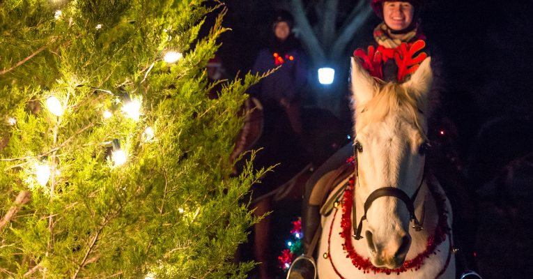 A Sweet Briar rider on her horse at the 2018 tree lighting.