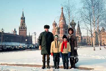 The Malone family in Moscow, from left: Dan, Shannon, Leslie and Anne.