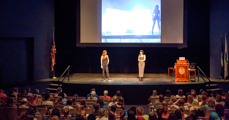 Kassidy Brown (left) and Allison Rapson speak to Sweet Briar students Tuesday afternoon in Murchison Lane Auditorium.