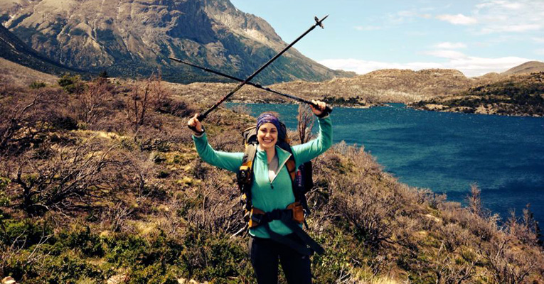 Anna Donko '14 in Chile's Torres del Paine National Park. For five days in December 2014, Donko hiked a portion of the national park in Chilean Patagonia.