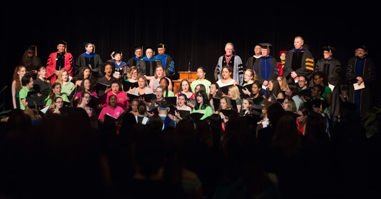 The Concert Choir, led by Marcia Thom Kaley, welcomed students, faculty and staff to the 2015 Awards Convocation.