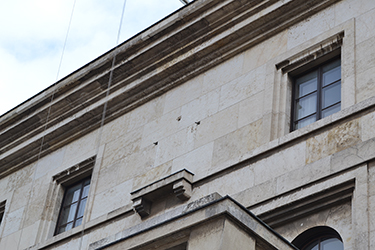 The facade of a house in Munich, once adorned with the Nazis' Imperial Eagle