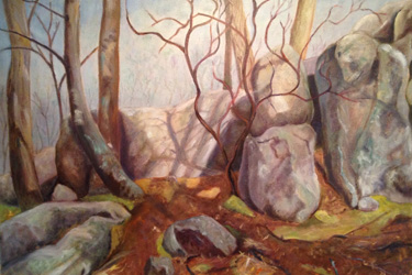"Marion Freerks, ""Indian Rocks on the Blue Ridge Parkway,"" ca. 2010, oil on canvas. Courtesy of Martin Freerks."