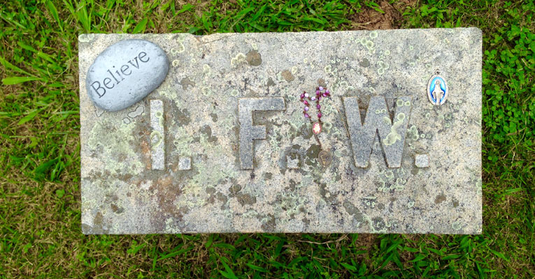Photo by Nancy McDearmon of the grave marker for Indiana Fletcher Williams at Monument Hill, July 2015