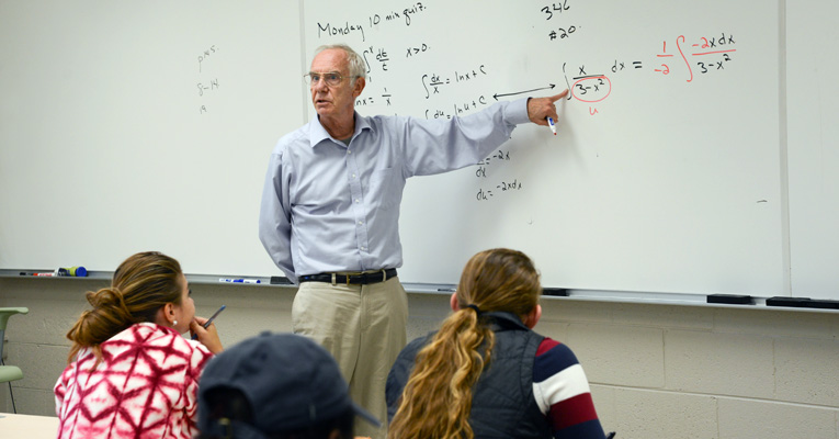 Students love math professor Jim Kirkwood for his ability to read and empathize with them when they need help in class.