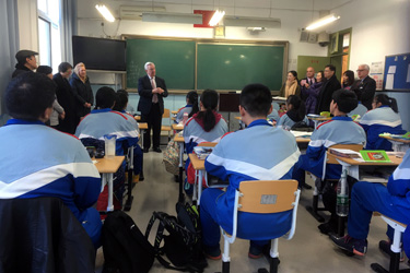 President Stone talked to students at Beijing Xicheng Foreign Languages School about the value of a liberal arts education.