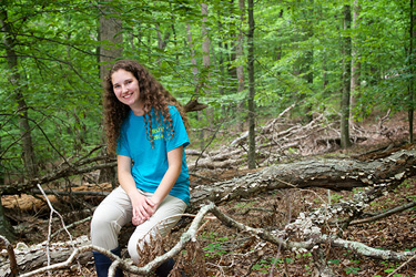 Savanna Klein '16 in the Constitution Oaks Nature Sanctuary while conducting research last summer.