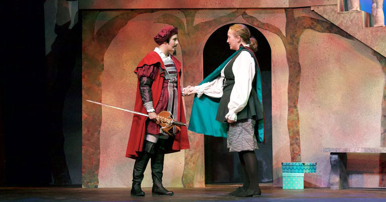 "McCarthy (right) in ""Twelfth Night."" Photo by Kylene Hayslett."