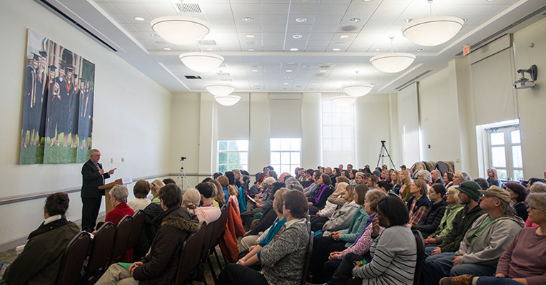 President Phillip C. Stone presents his state-of-the-College address to Sweet Briar faculty and staff on Jan. 26, 2016.