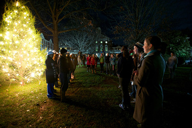 Students gather for Sweet Briar's annual Christmas Tree Lighting.