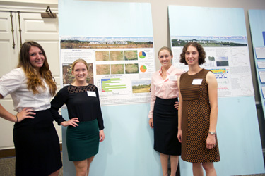Tricia Morgan, Hayley Foraker, Wendy Ferguson and Verena Joerger collaborated on an environmental science project.