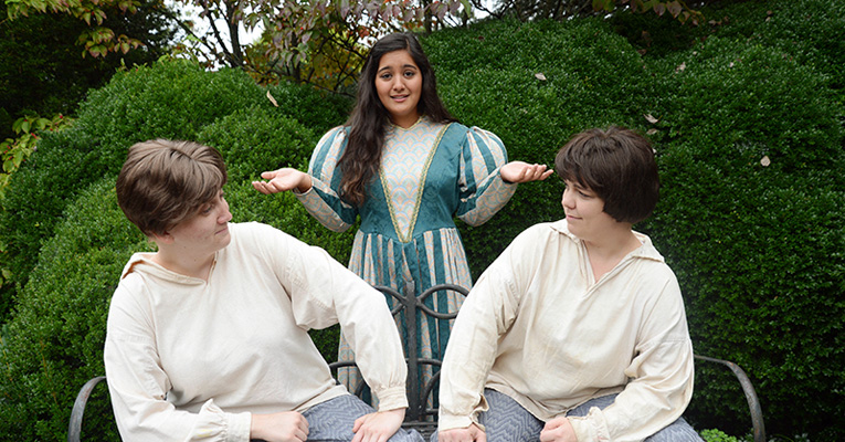 From left: Shannon McCarthy (Viola), Mayalin Quinones (Olivia) and Tristin Burke (Sebastian). Photo by Charlotte Barbour '16.