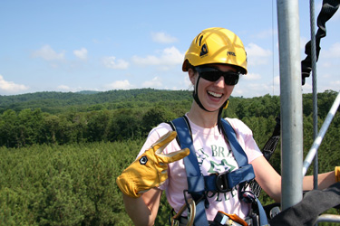 Verena Joerger spent part of her summer climbing high above the tree line to help install Sweet Briar's Land Atmosphere Research Station.